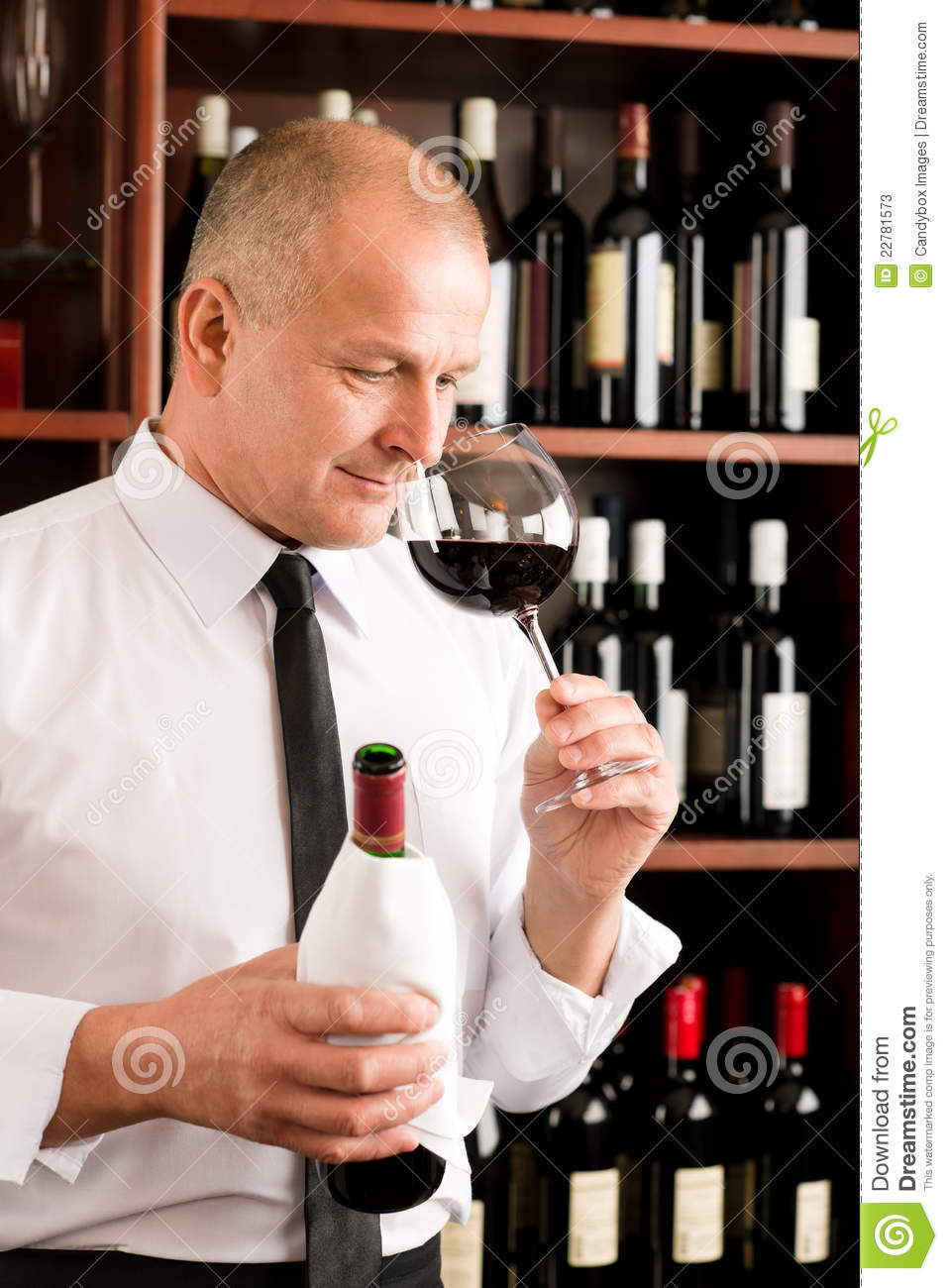 Bar Waiter Smell Glass Red Wine Restaurant Stock Photos Image 22781573