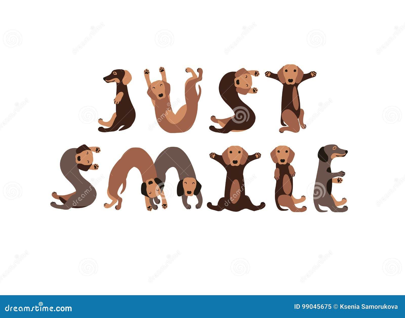 Bara leende Taxhundkapplöpningbokstäver