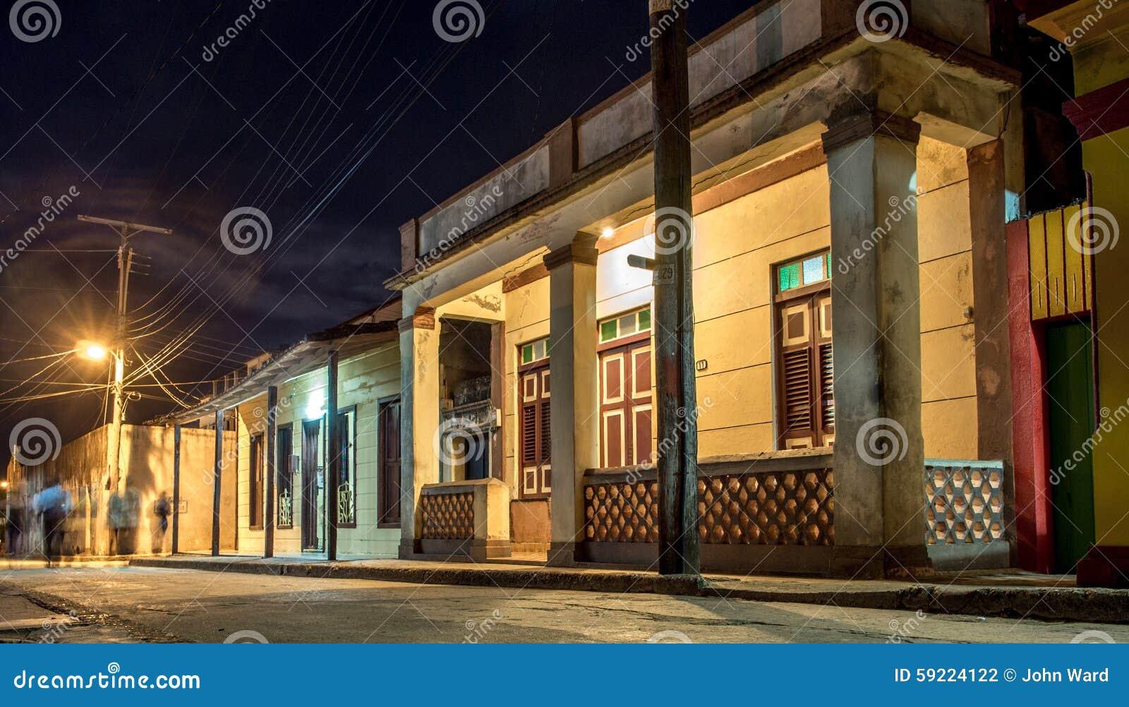 Baracoa street at night Cuba