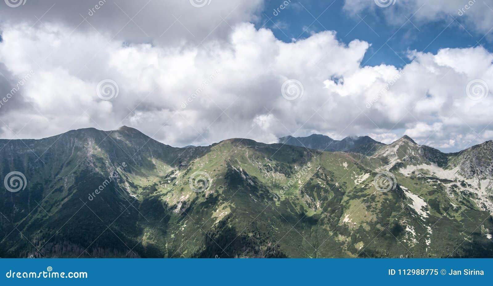 Baranec, Smrek, Placlive, Tri kopy, Hruba kopa and Banikov peaks in Western Tatras mountains in Slovakia