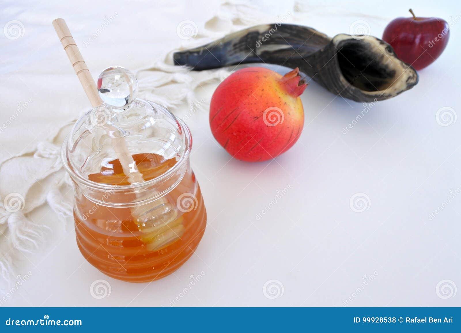 Barattolo del miele, Shofar del melograno e mela rossa