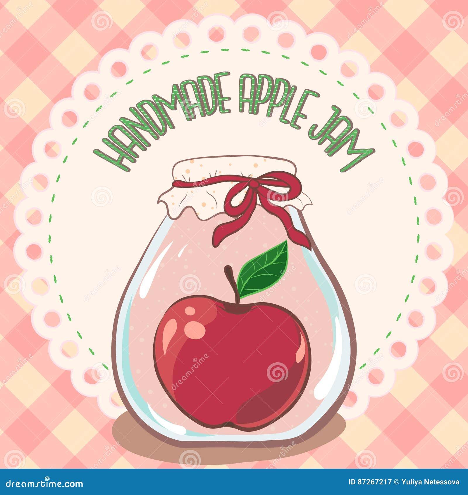 Barattolo rosso fatto a mano dell inceppamento della mela sull etichetta del centrino del pizzo e sulla tovaglia del percalle Ill