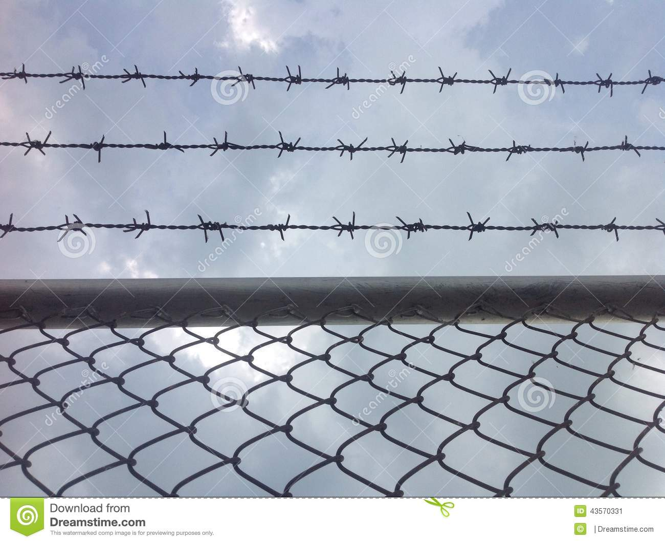 Barb wire and blue sky stock image. Image of beautiful - 43570331