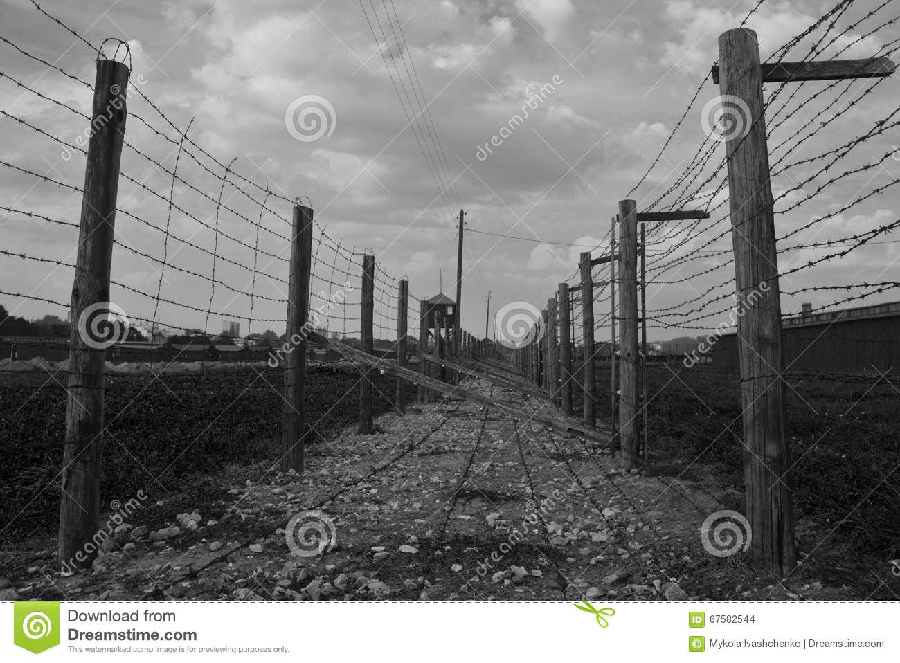 Barb-wire Fence In Majdanek Concentration Camp Editorial Stock Image ...