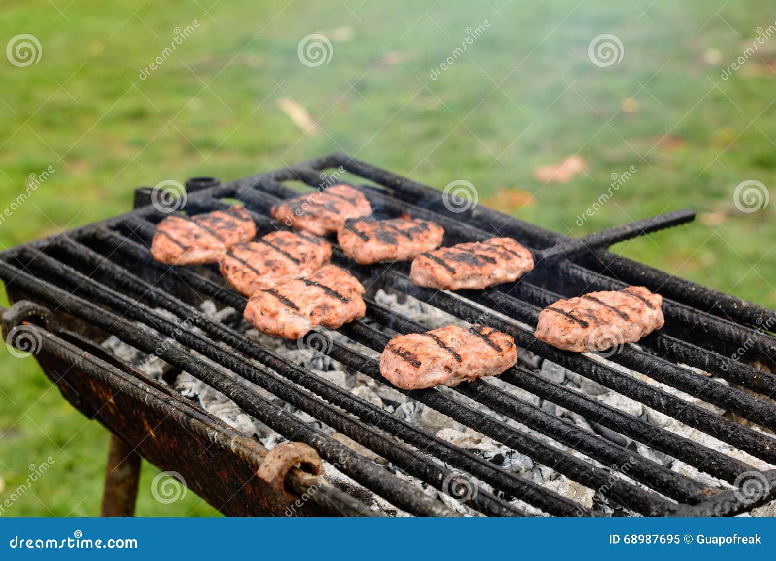Barbacoa en naturaleza Albóndigas de la hornada en el carbón de leña