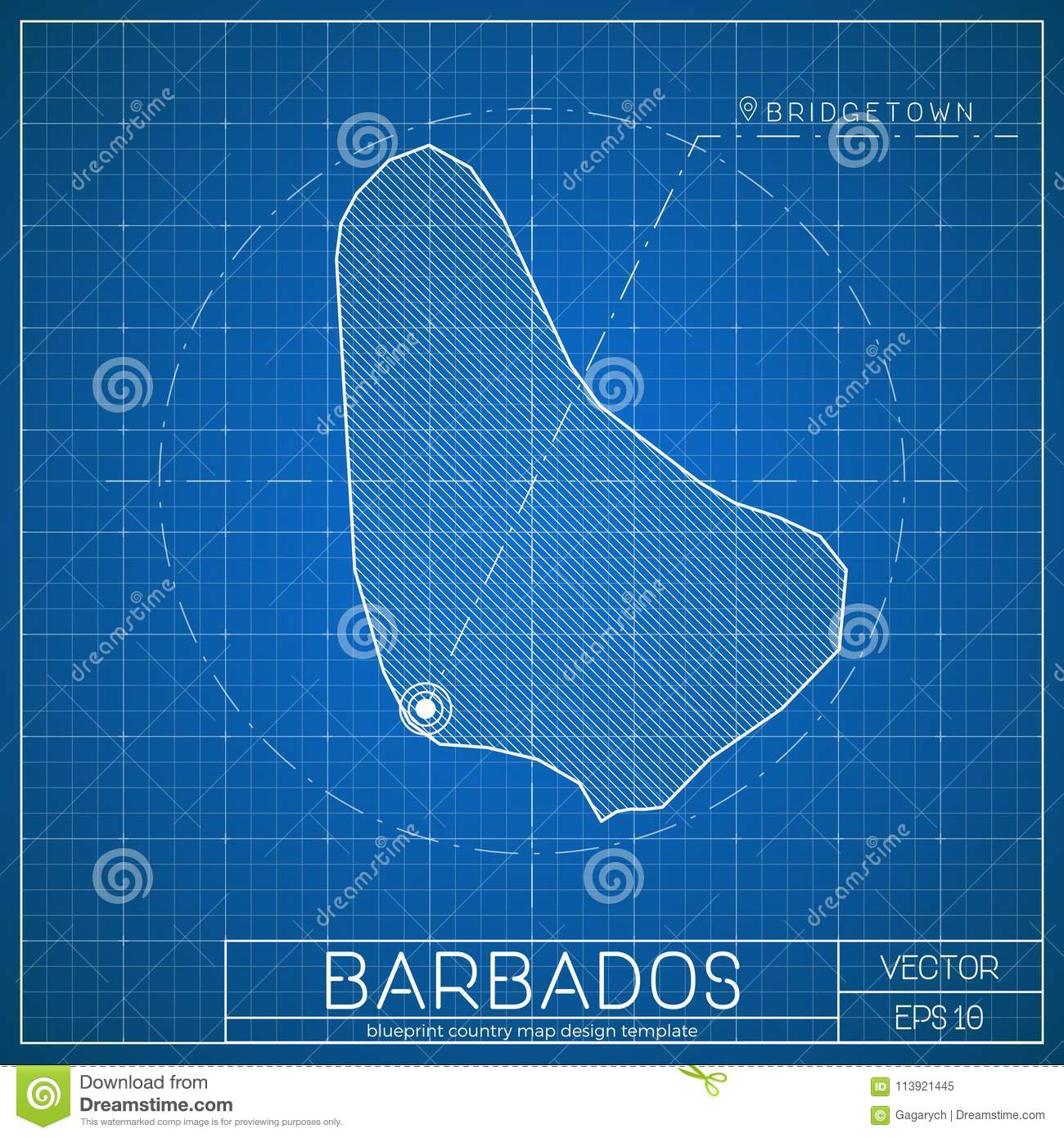 Barbados blueprint map template with capital city stock vector barbados blueprint map template with capital city malvernweather Images