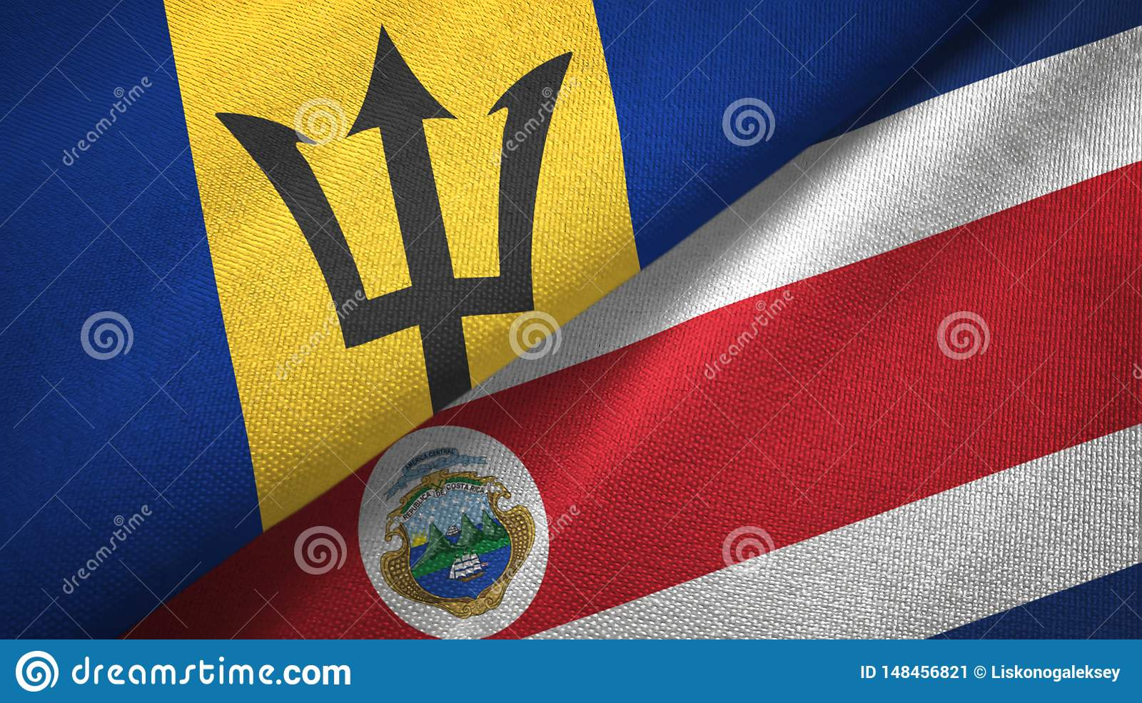 Barbados and Costa Rica two flags textile cloth, fabric texture