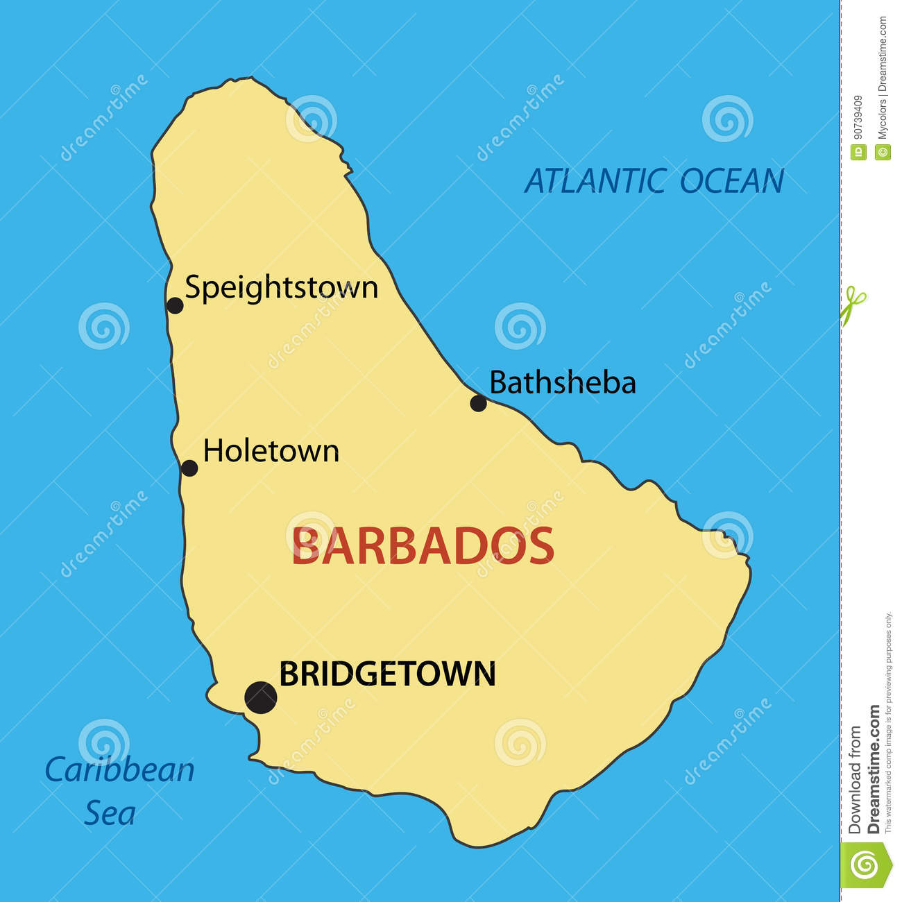 Picture of: Barbados Vector Map Of Country Stock Vector Illustration Of Ocean Light 90739409