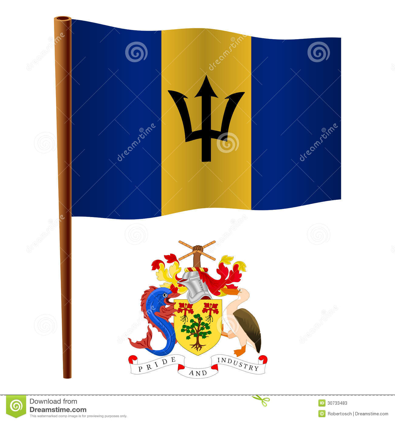 Barbados Wavy Flag And Coat Of Arms Against White Background Vector