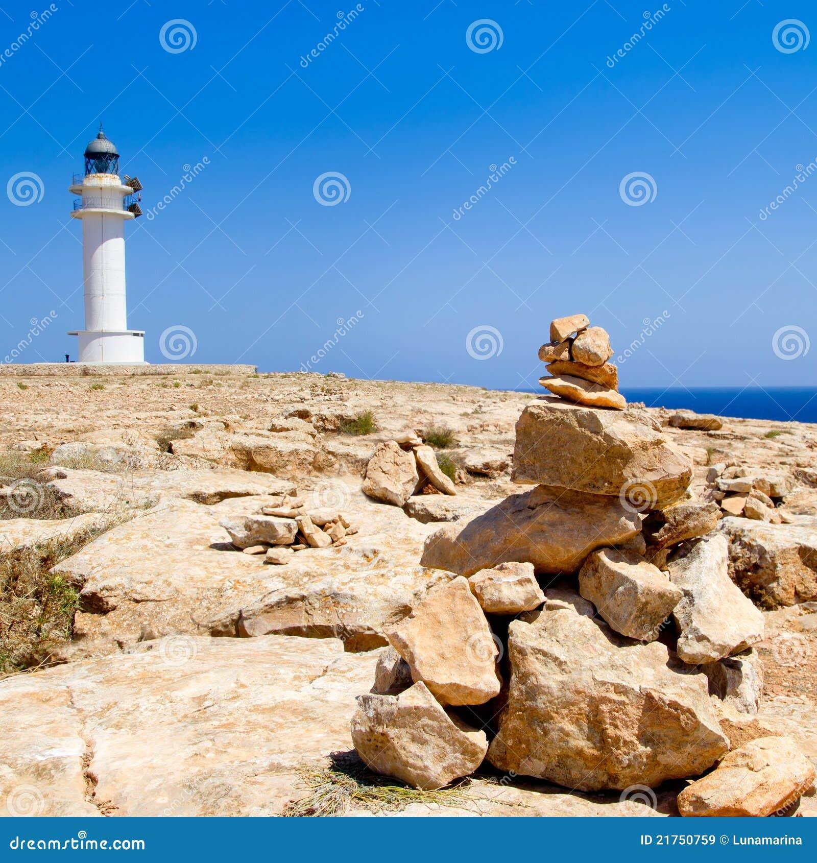 Barbaria formentera Lighthouse make a wish stones