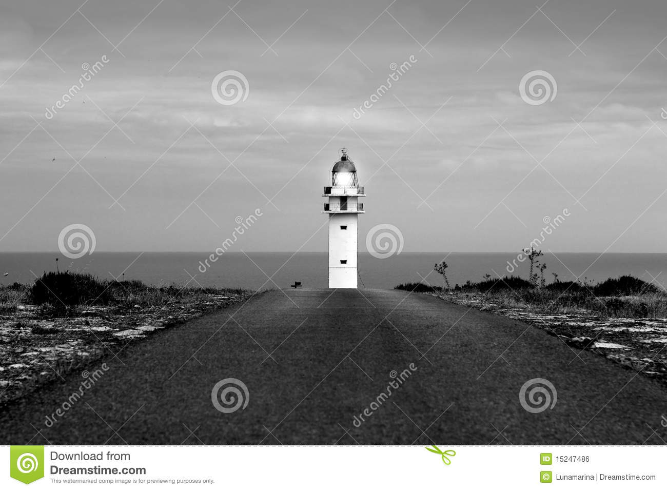 Barbaria lighthouse Formentera from road