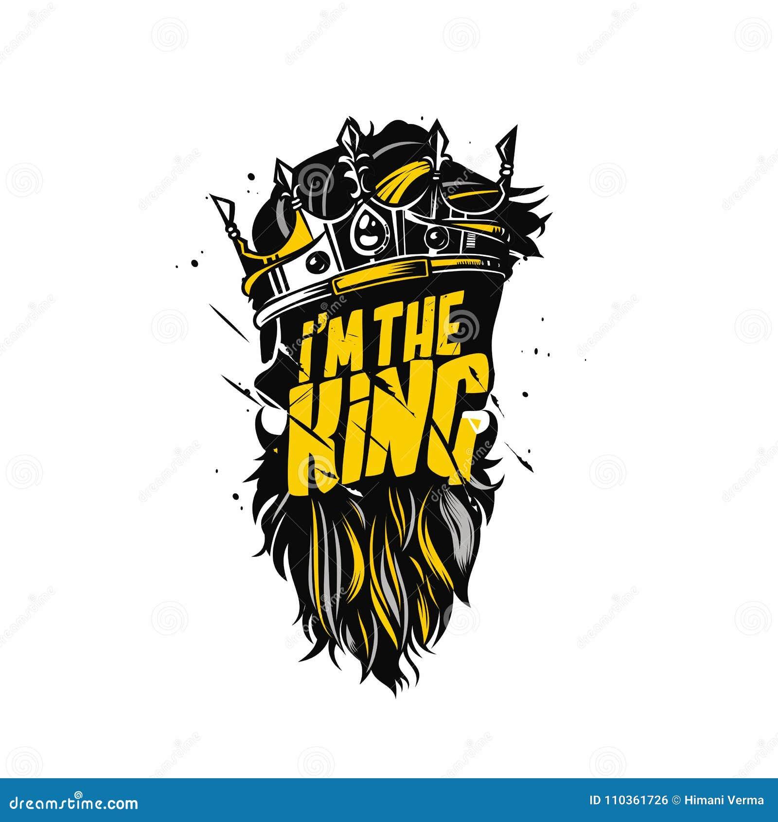 Barbe de roi et illustration de vecteur de couronne