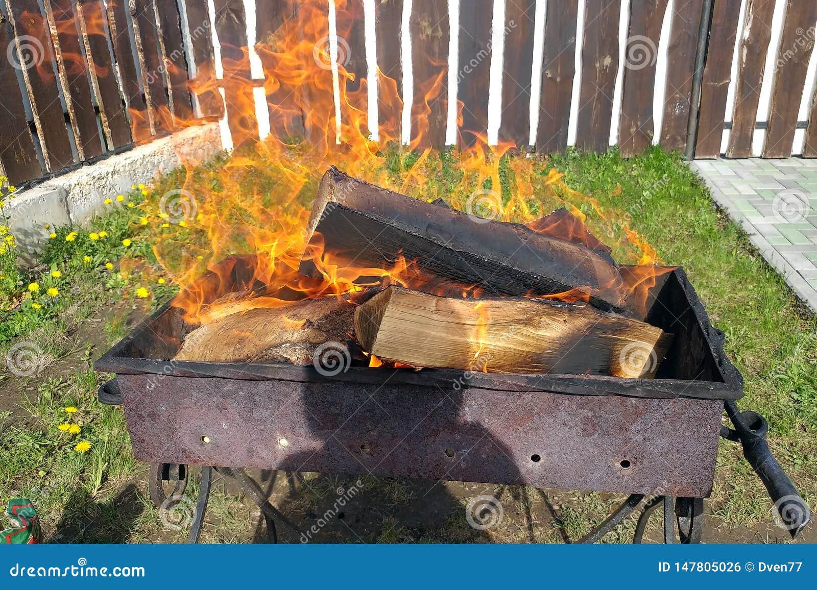 Barbecue avec le bois de chauffage br?lant Préparation de charbon pour des chiches-kebabs