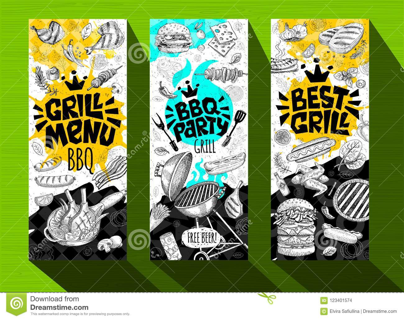 barbecue banner posters grilled food sausages chicken french