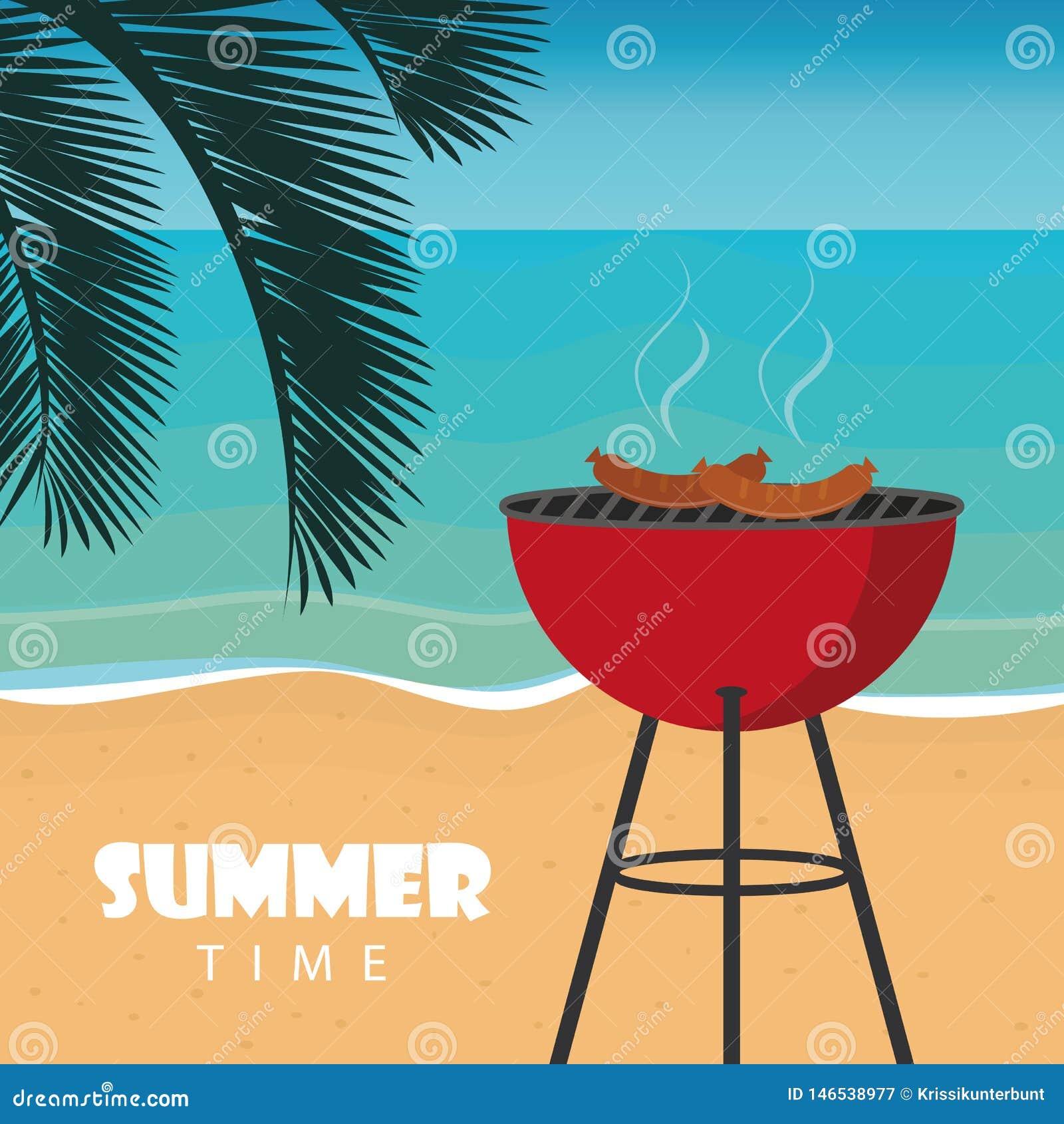 Barbecue d heure d été sur la plage avec la palmette