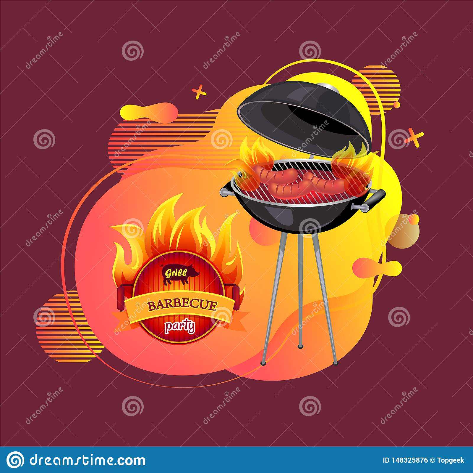 Barbecue de partie de barbecue et griller le vecteur de bannière