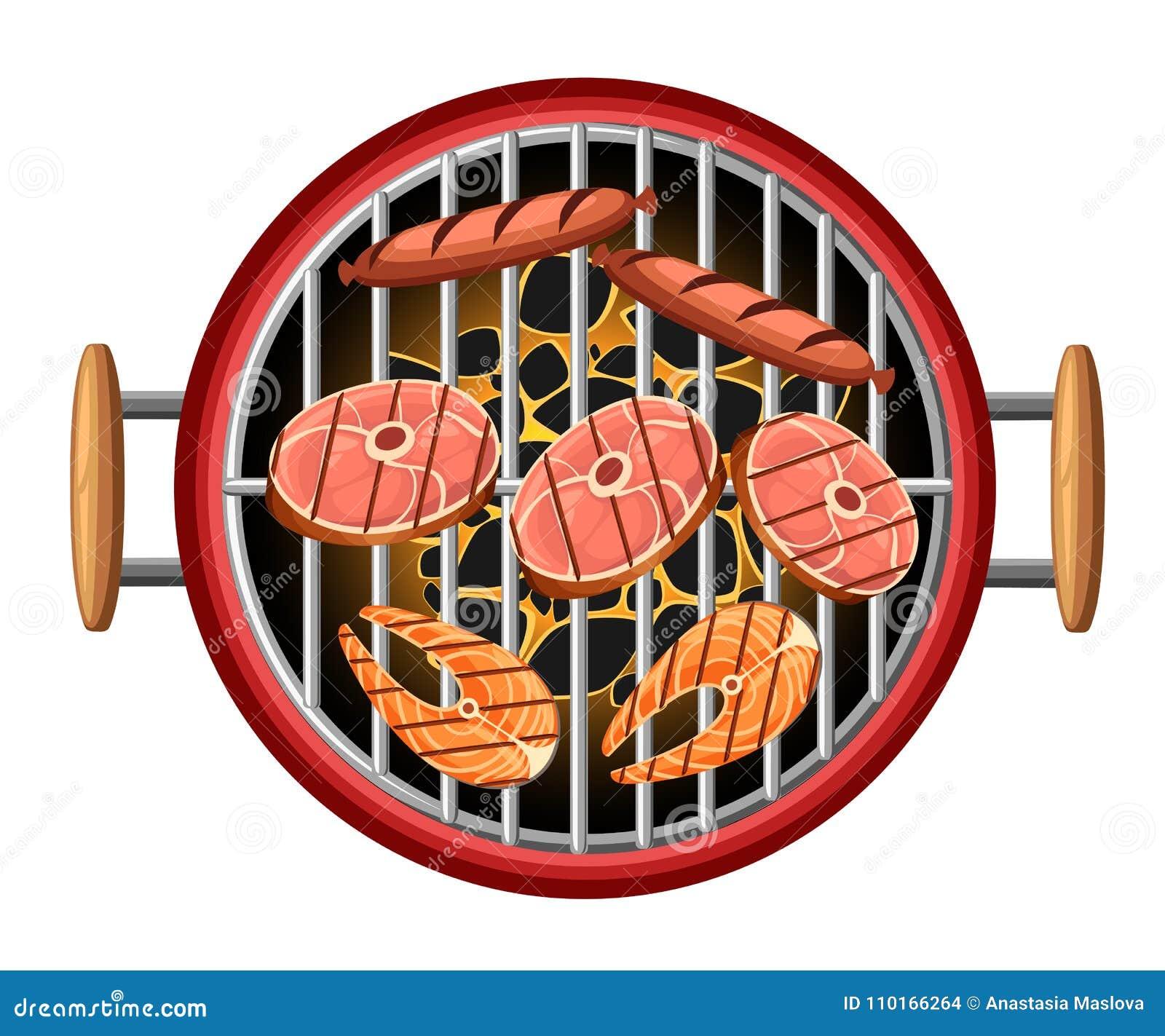 Barbecue Design Elements Grill Top View Burning Coals Bbq ...
