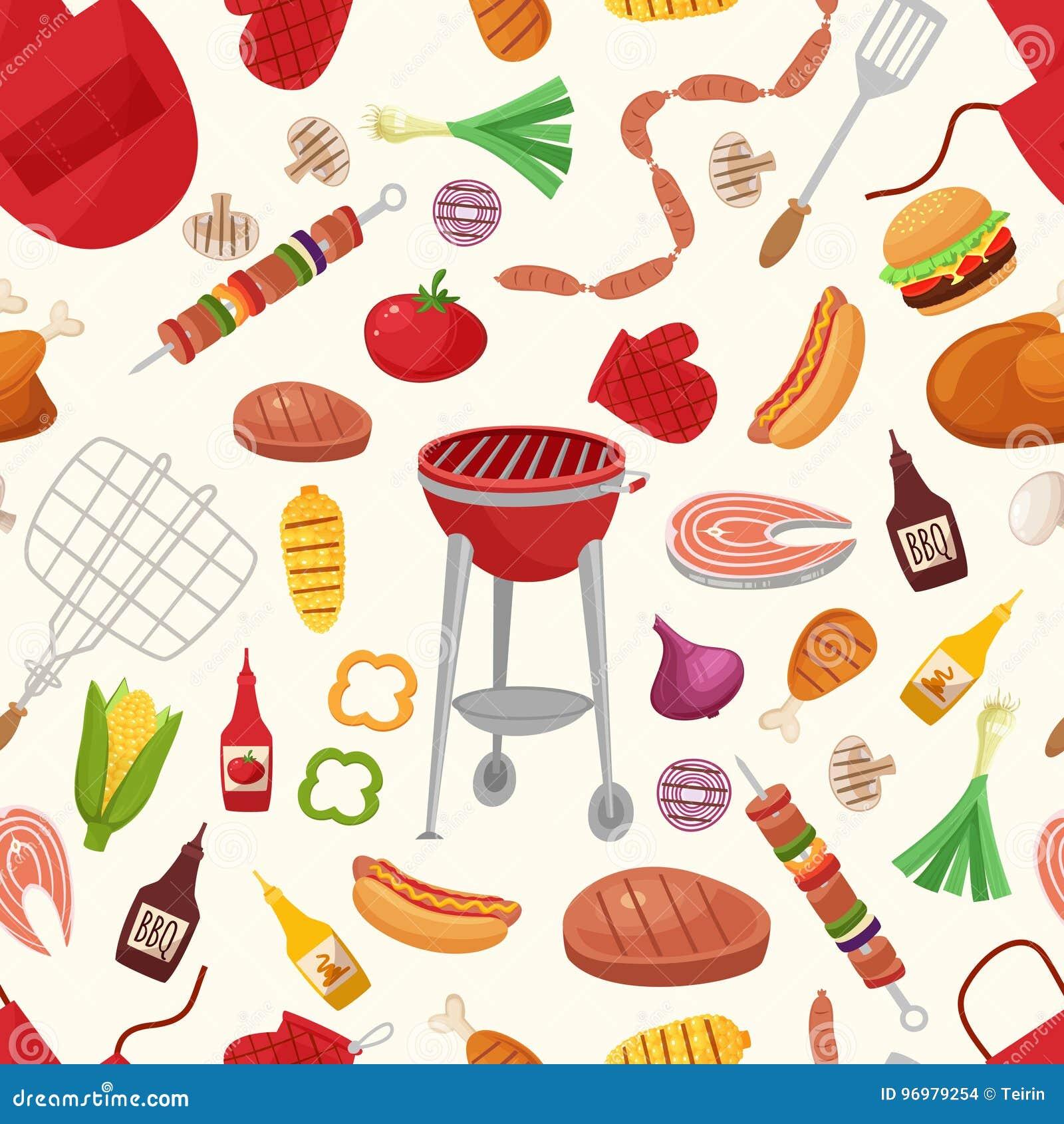 Barbecue et gril pour le modèle à la maison de fond de partie ou de restaurant