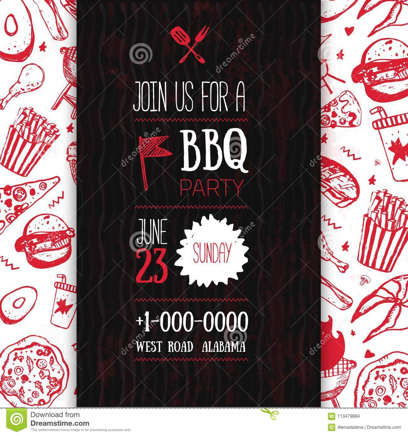 Barbecue Flyer Template For Your Party With Grunge Icons And Frame Bbq Vintage Grill Background Stock Vector Illustration Of Outdoor Party 113479884