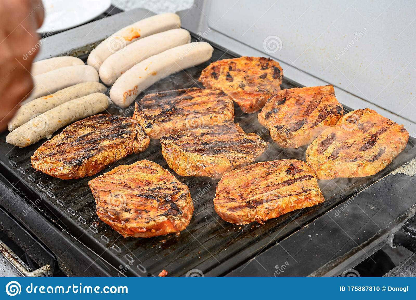 Barbecue Grill Bbq On Coal Charcoal Grill With Steaks Bratwurst Sausages And Meat Delicious Summer Meal Stock Photo Image Of Barbecued Grilled 175887810