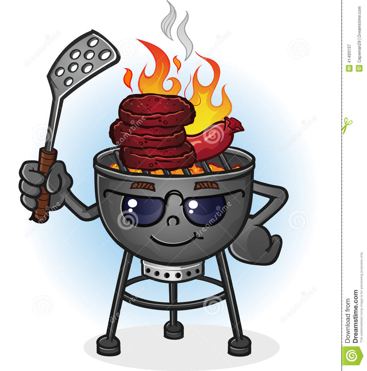 Barbecue grill cartoon character with attitude stock