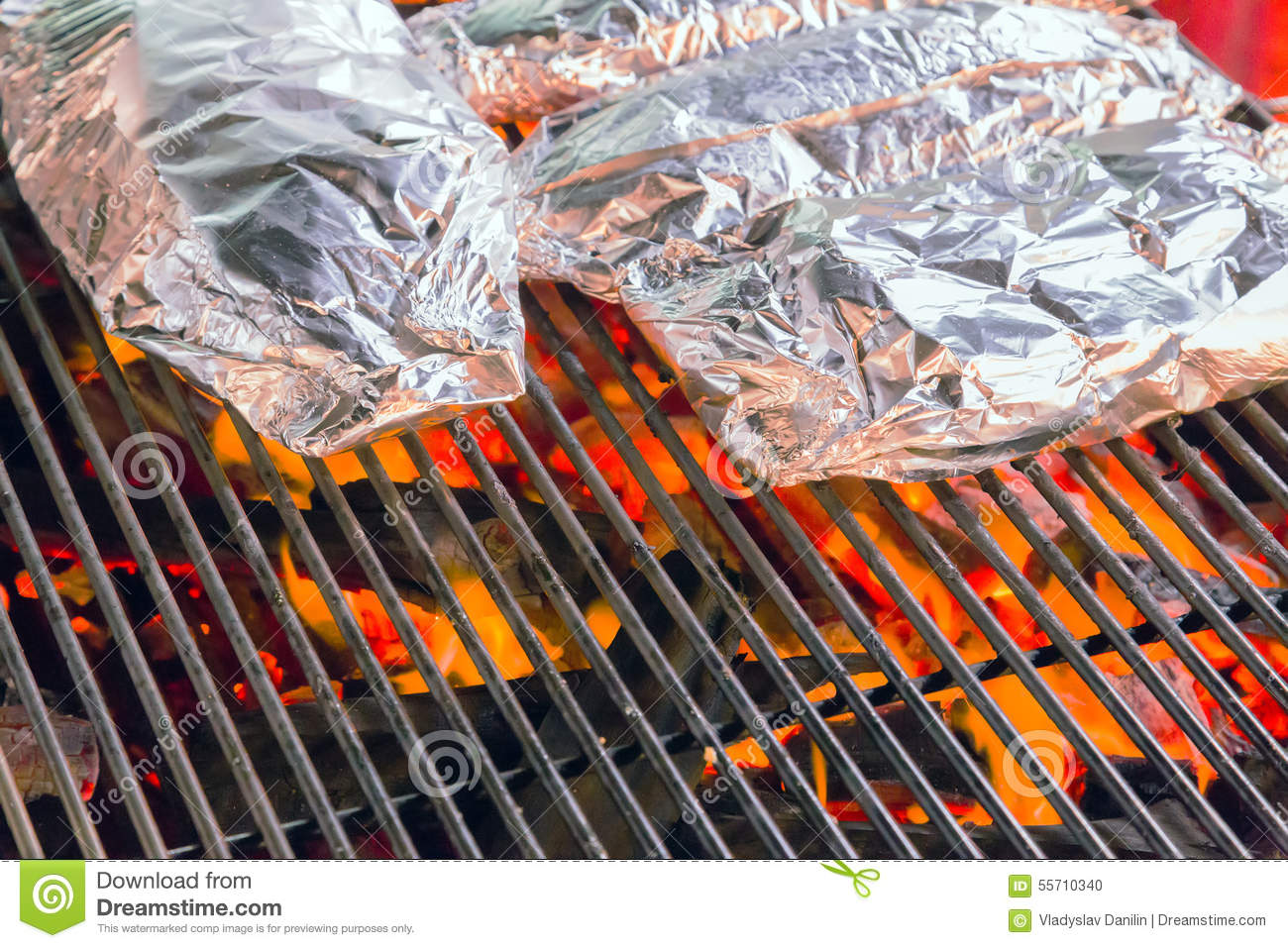 Barbecue Grill Cooking Food In Aluminum Stock Photo ...