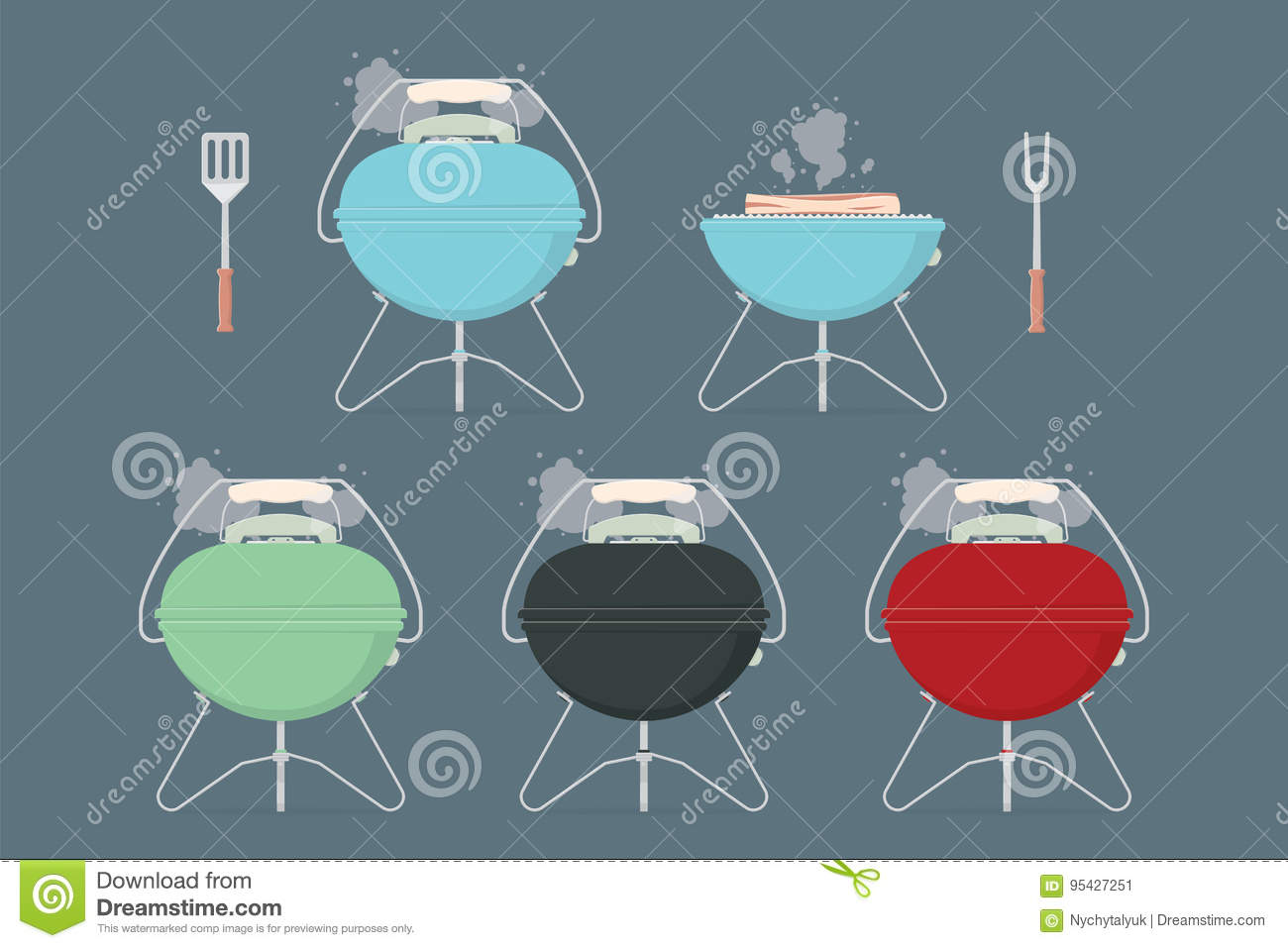 Barbecue Grill Elements For Restaurant Menu Or Weekend Outdoor Lunch Or Picnic Retro Color Flat Design Vector Illustration Stock Vector Illustration Of Elements Party 95427251