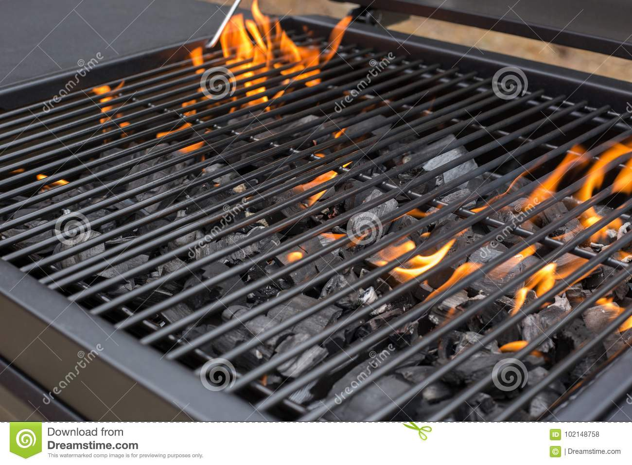 Barbecue grill grate. BBQ, fire, charcoal