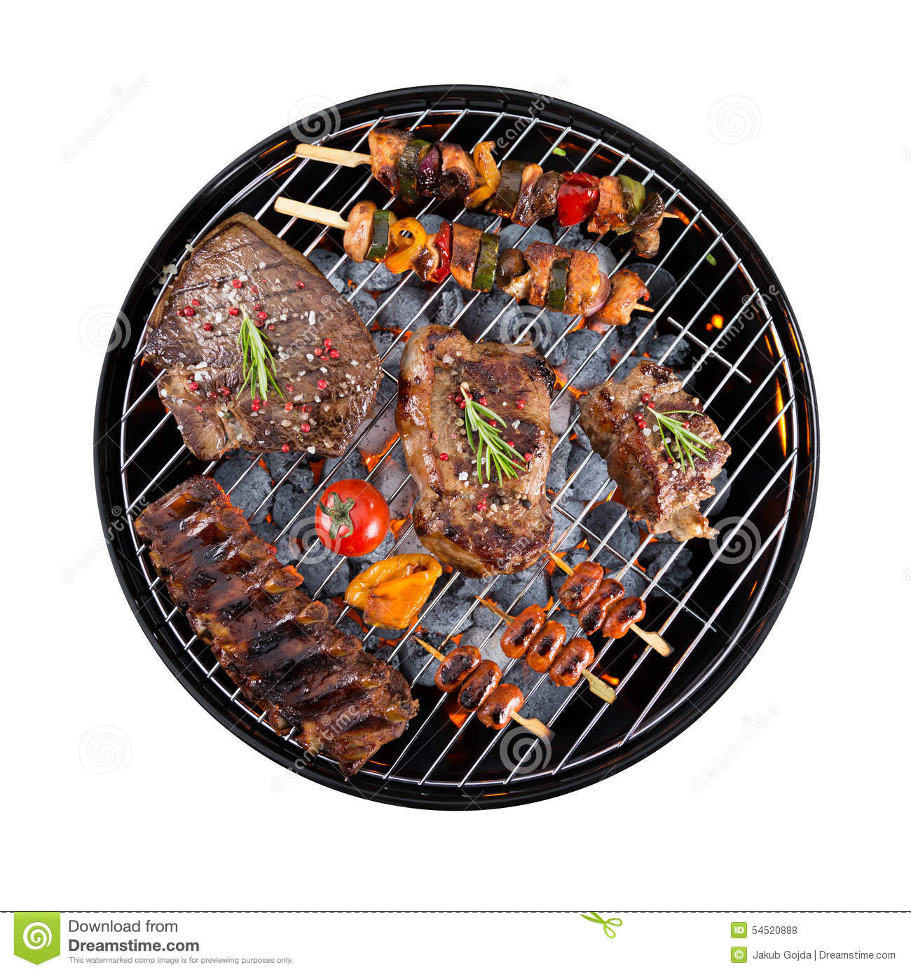 Barbecue Grill With Meat On White Background Stock Photo ...