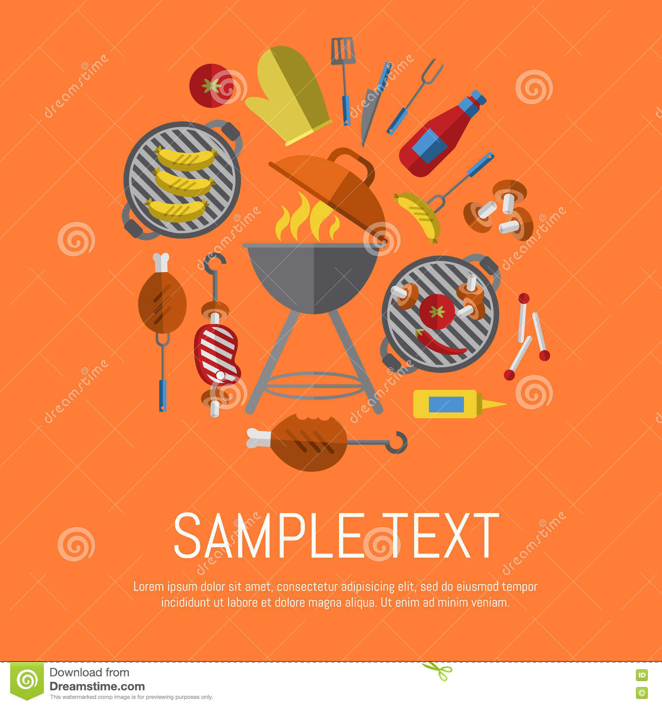 Poster design tools - Barbecue Grill Poster Design Template Stock Vector