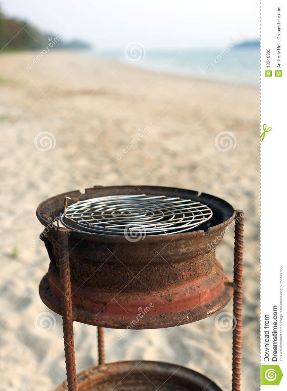 Barbecue Grill On Tropical Beach Royalty Free Stock Photo