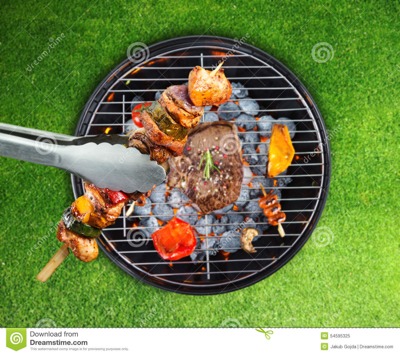 Barbecue grill with various kinds of meat