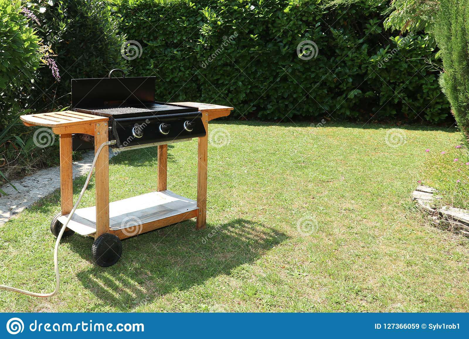 Barbecue grilled in the garden