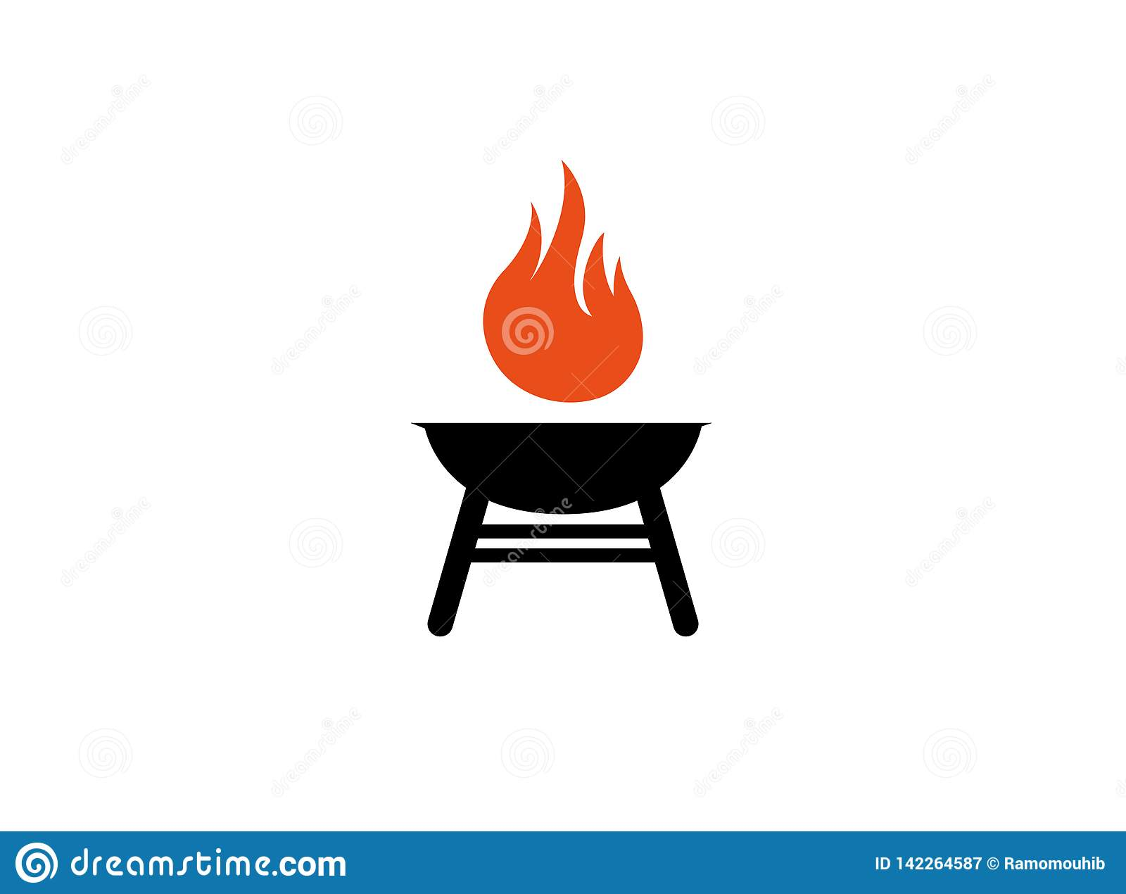 Barbecue grills with fire for logo