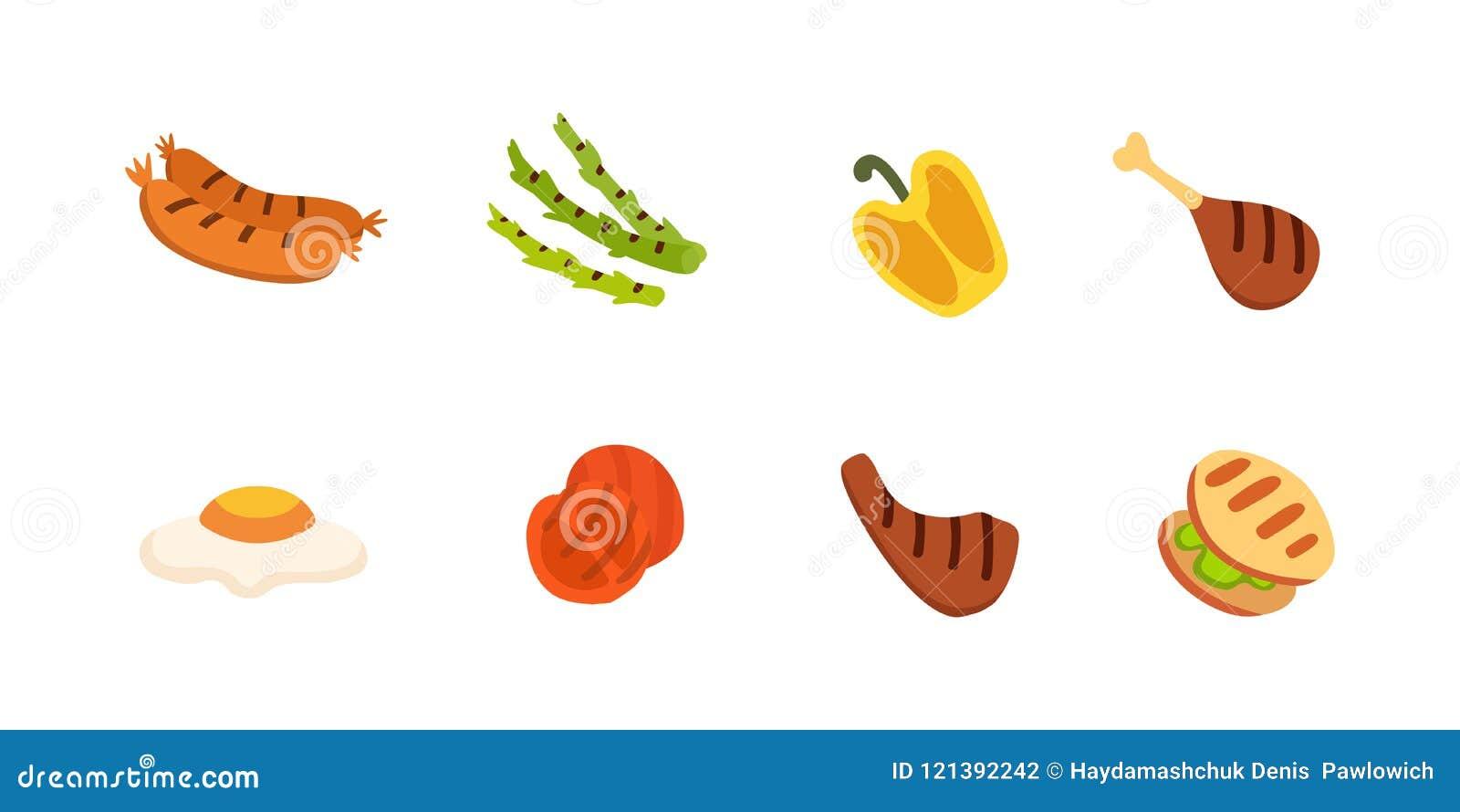 Barbecue icons set. Grill food, bbq, roast, steak cartoon vector illustration.