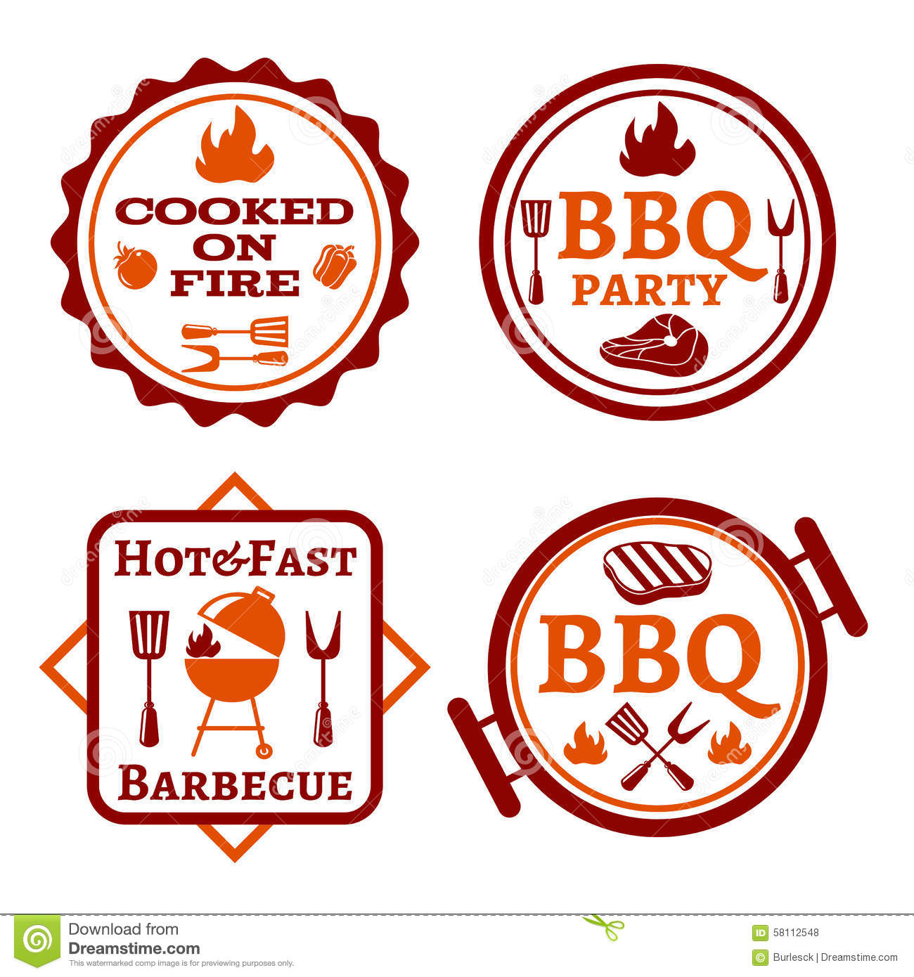 Barbecue logo. Bbq and grill, steak cooking, lunch and picnic vector ...