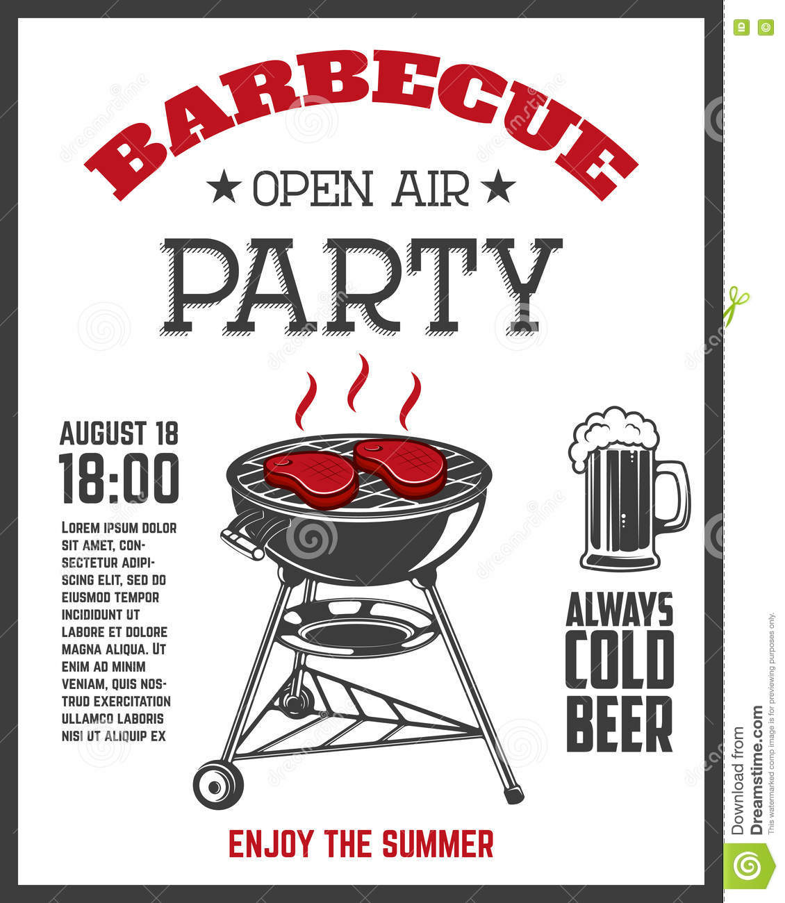 Barbecue Open Air Party Flyer Template. Grill With Kitchen Tools ...