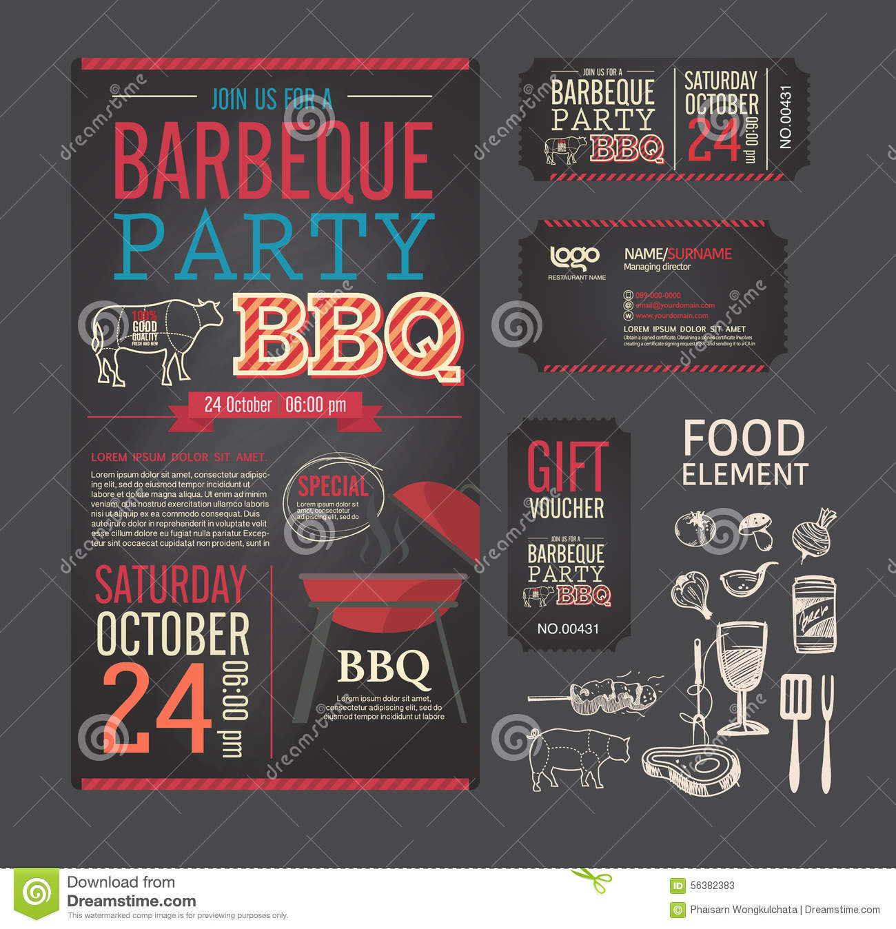barbecue party bbq template menu design set stock vector image 56382383. Black Bedroom Furniture Sets. Home Design Ideas