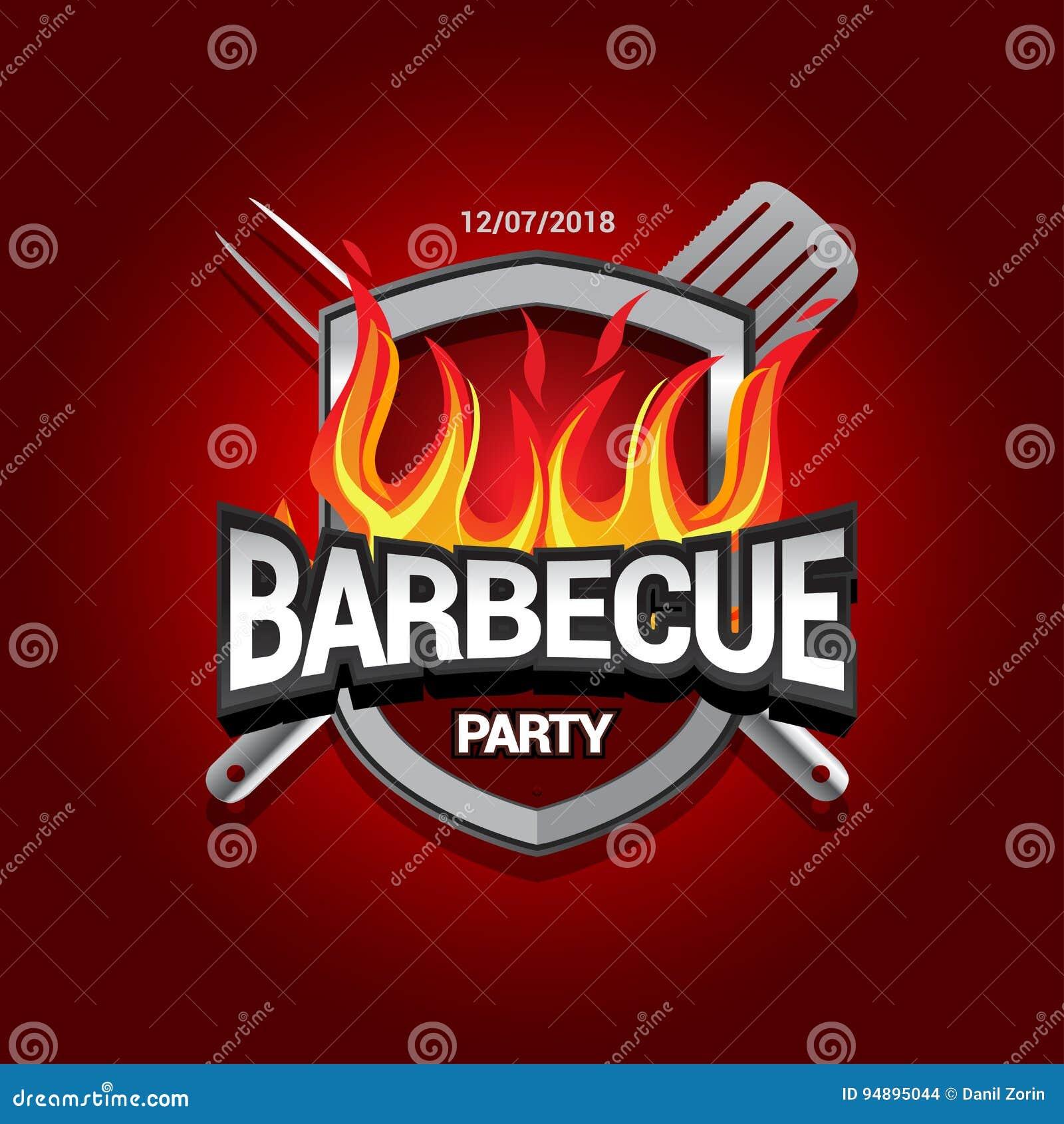 barbecue party design with fire on shield barbecue invitation