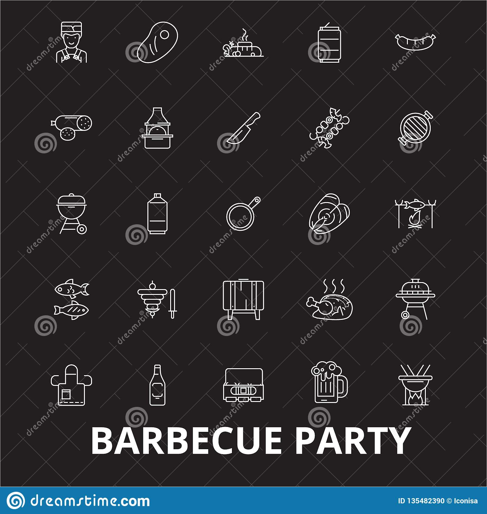 Barbecue party editable line icons vector set on black background. Barbecue party white outline illustrations, signs