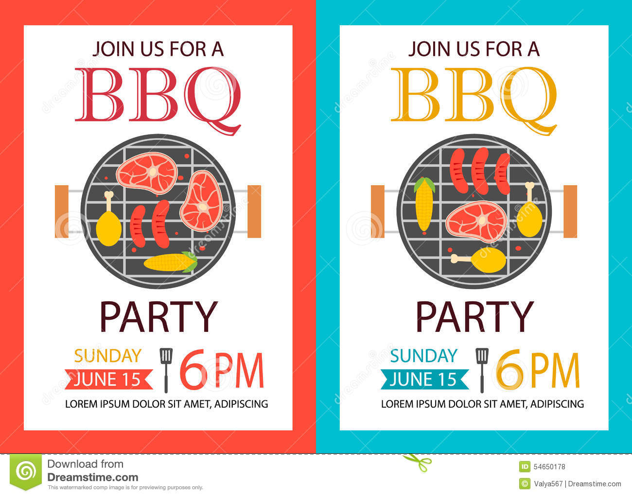 barbecue party invitation bbq template flyer stock vector image 54650178. Black Bedroom Furniture Sets. Home Design Ideas