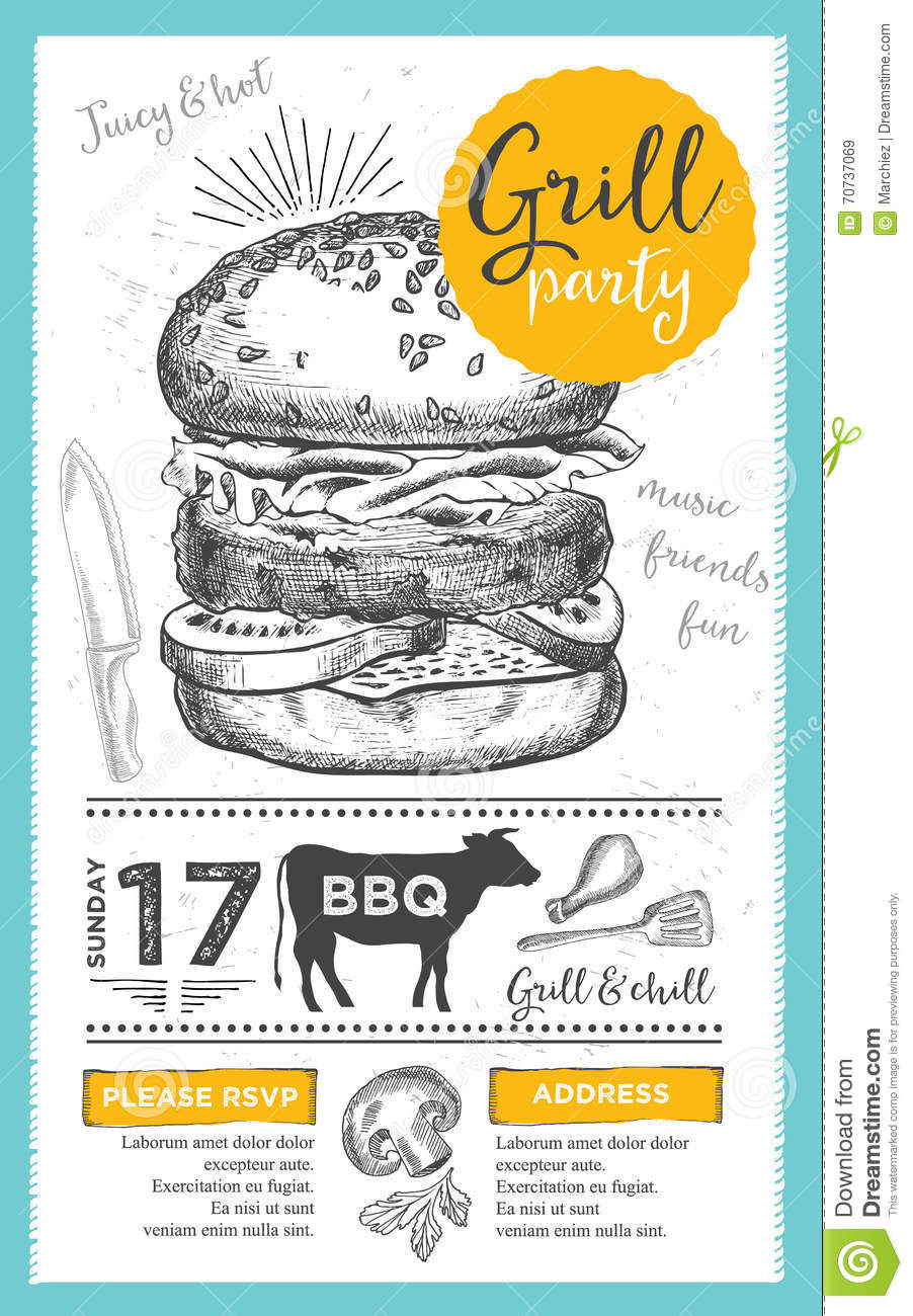 Barbecue Party Invitation. BBQ Template Menu Design. Food Flyer ...