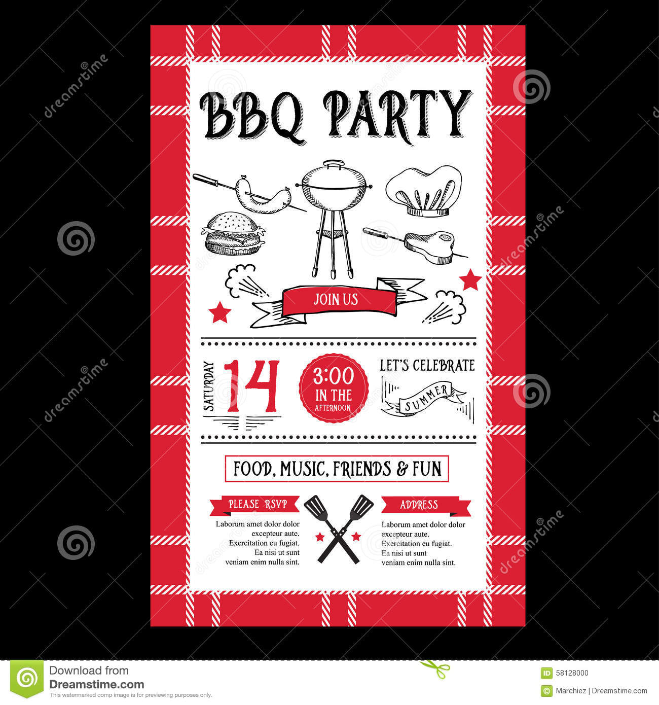 barbecue party invitation bbq template menu design food flyer stock vector image 58128000. Black Bedroom Furniture Sets. Home Design Ideas