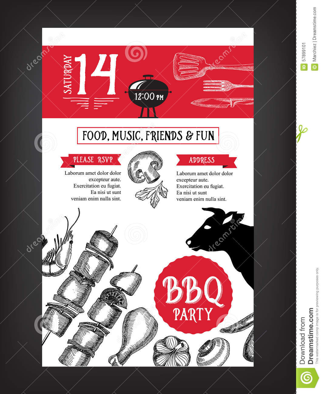 barbecue party invitation bbq template menu design food flyer stock vector image 57899101. Black Bedroom Furniture Sets. Home Design Ideas