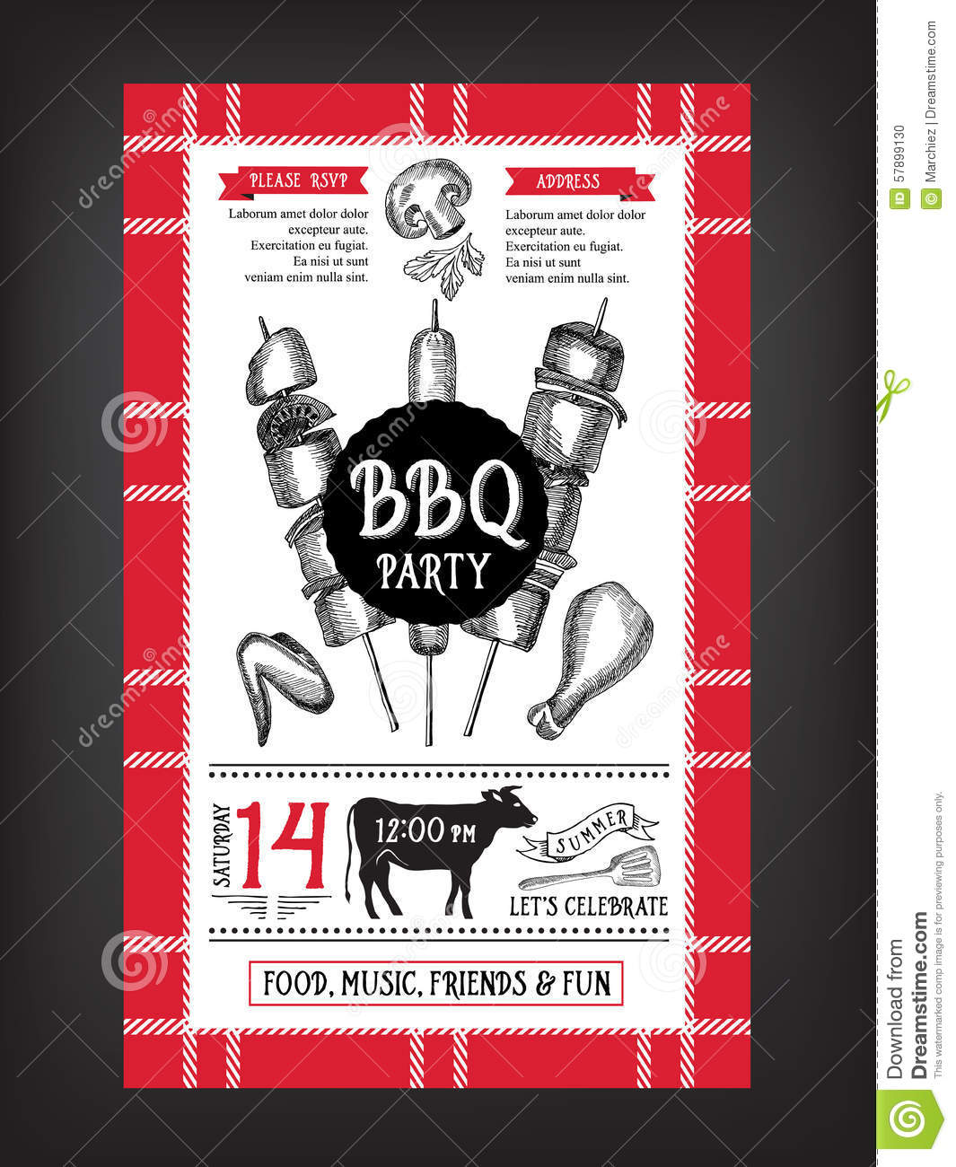 barbecue party invitation bbq template menu design food flyer stock vector image 57899130. Black Bedroom Furniture Sets. Home Design Ideas