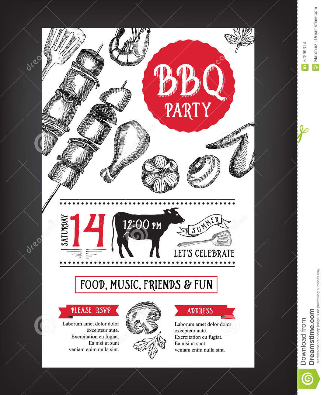 barbecue party invitation bbq template menu design food flyer stock vector illustration of. Black Bedroom Furniture Sets. Home Design Ideas