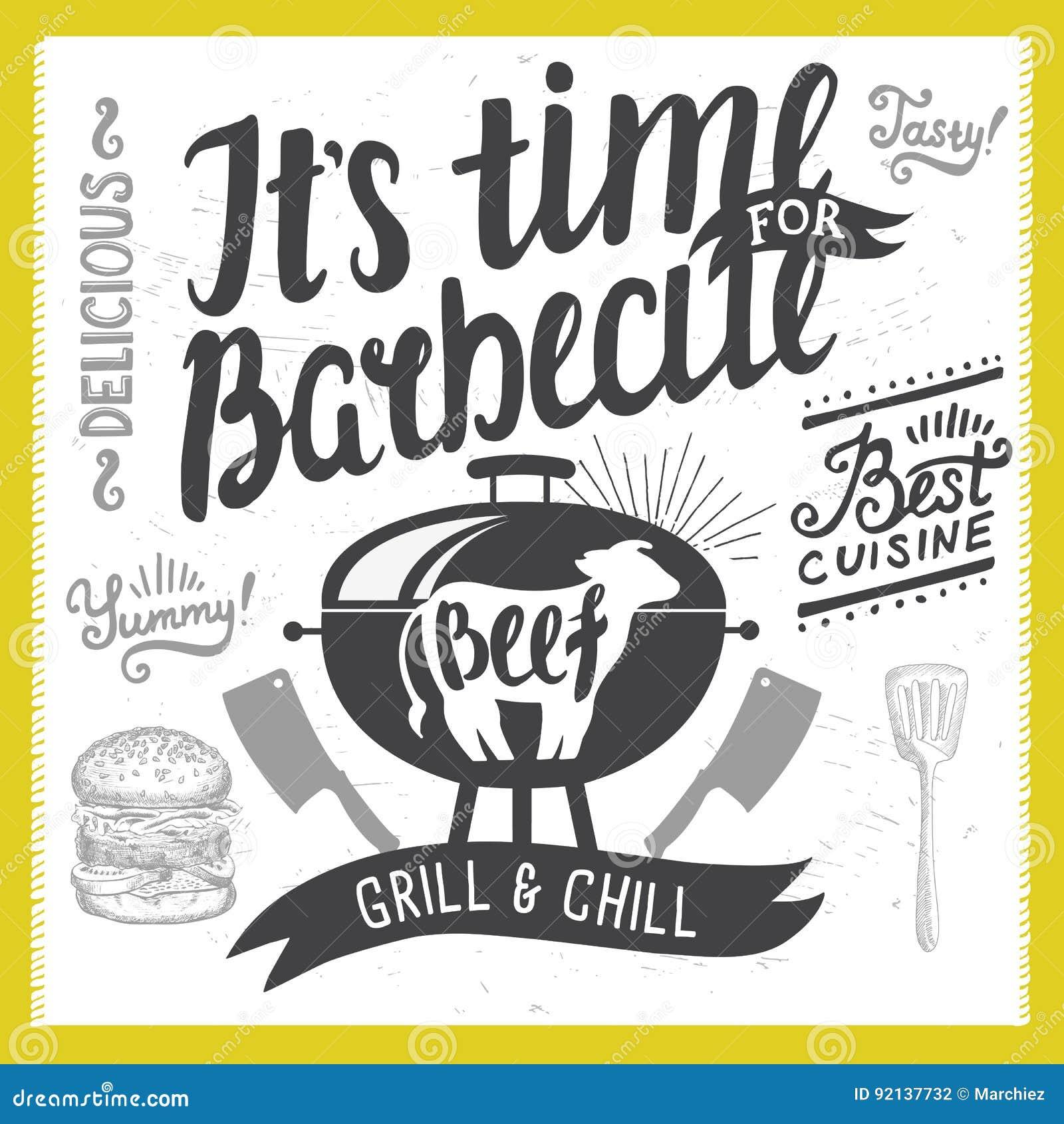 Barbecue Party Invitation Stock Vector Illustration Of Invite