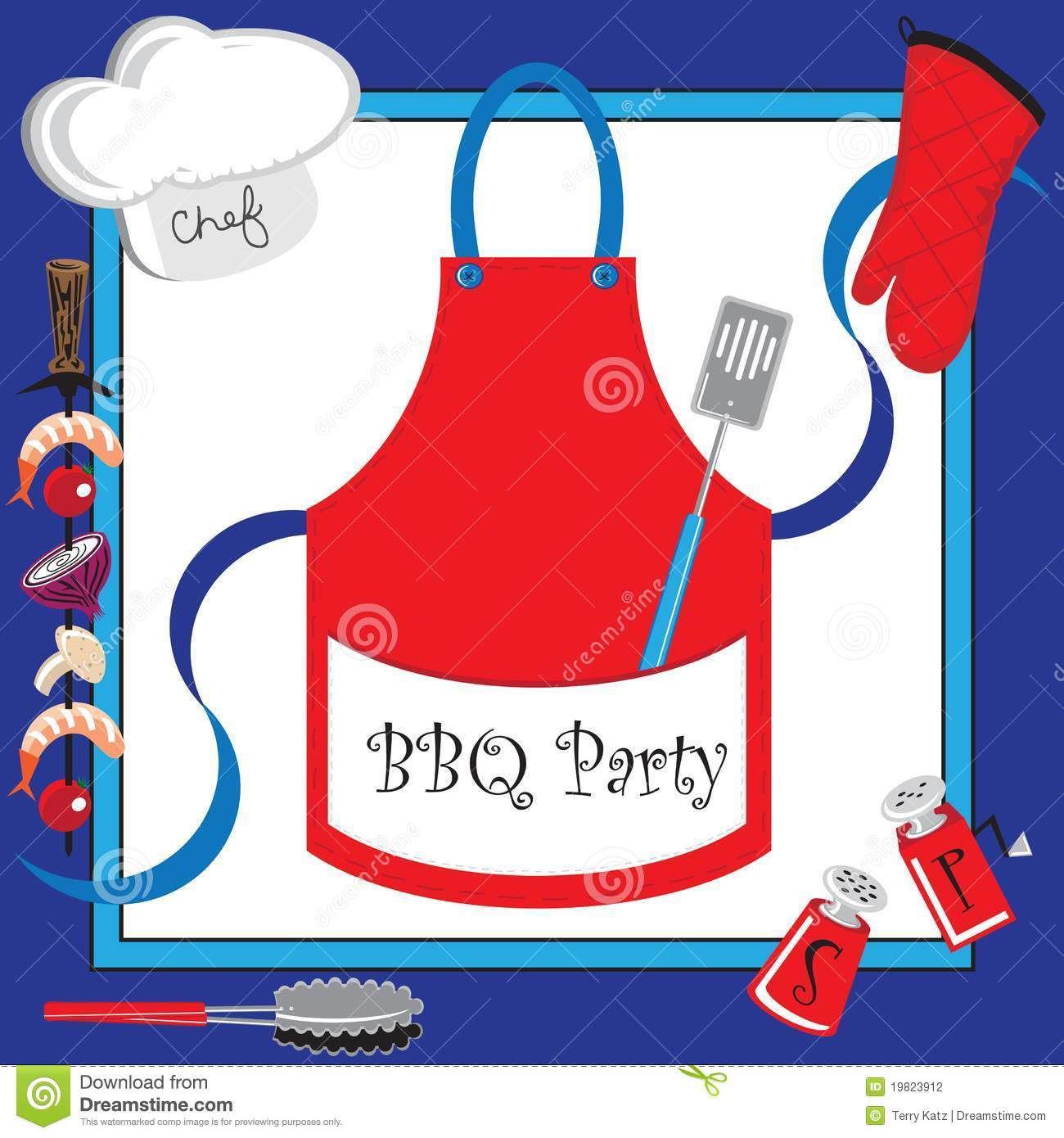 Barbecue Party Invitation With Large Apron Stock Vector