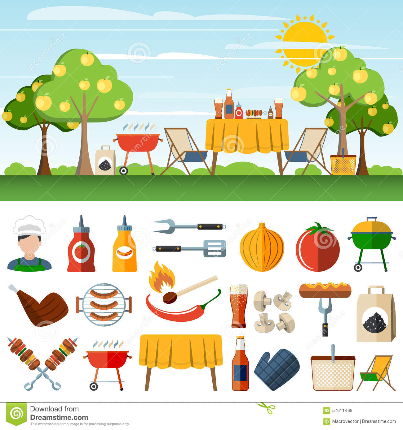 Barbecue Picnic Icons Composition Banners Stock Vector - Image ...