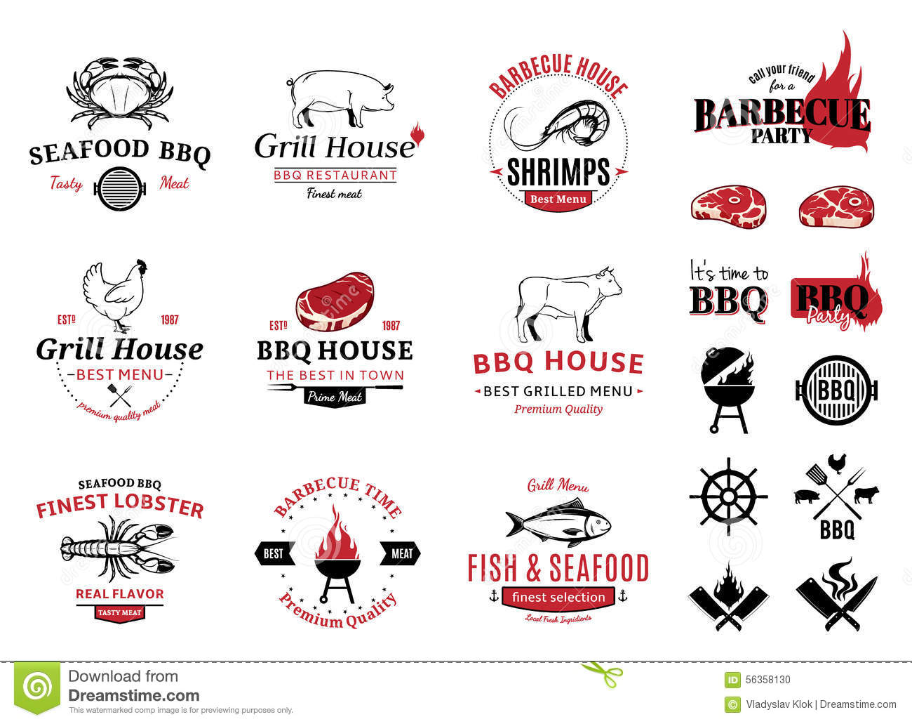 Barbecue, Seafood Logos, Labels And Design Elements Stock Vector ...